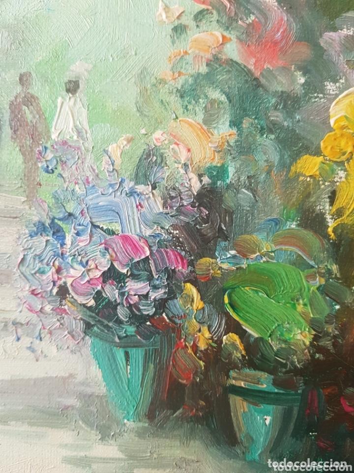 Arte: Rambla de las Flores - Firmado J.Campos.oleo/tela. - Foto 10 - 172290407