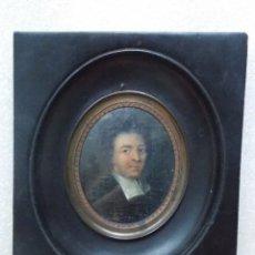 Arte: ANTIGUO OLEO SOBRE CARTON MINIATURA RETRATO CABALLERO ESCUELA FLAMENCA XVIII 1702. Lote 172351829