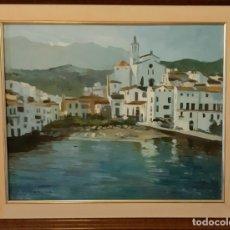 Arte: OLEO SOBRE LIENZO PAISAJE CADAQUES FIRMA P.FRESQUET. Lote 172411877