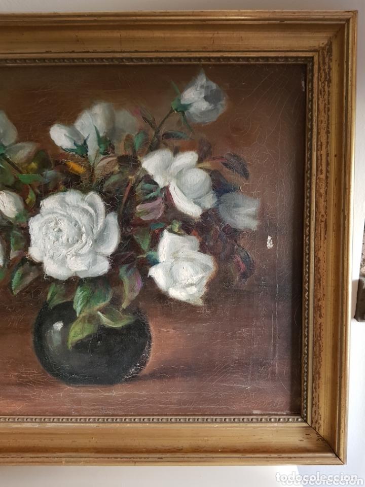 Arte: ANTIGUA PINTURA al óleo por Esteban Wenceslao Viciana (Almeria, 1871-1961) FLORERO - ROSAS BLANCAS B - Foto 3 - 172576717