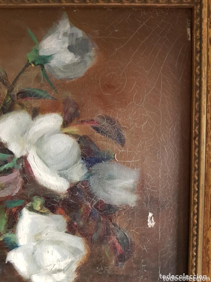 Arte: ANTIGUA PINTURA al óleo por Esteban Wenceslao Viciana (Almeria, 1871-1961) FLORERO - ROSAS BLANCAS B - Foto 5 - 172576717