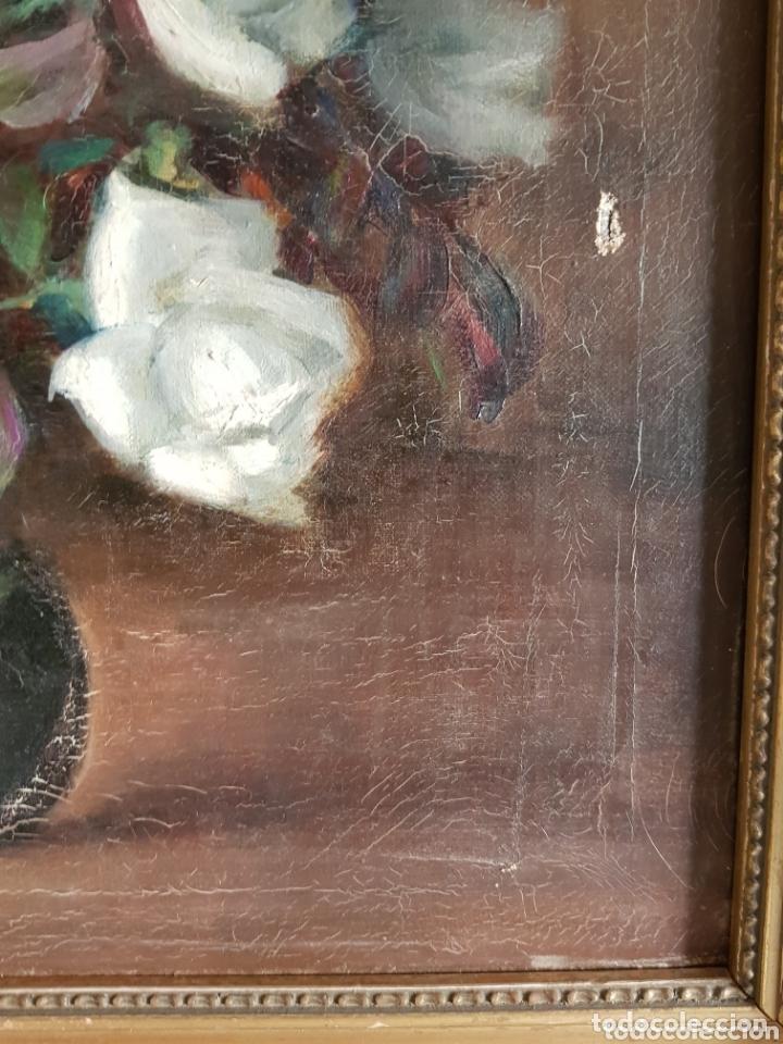 Arte: ANTIGUA PINTURA al óleo por Esteban Wenceslao Viciana (Almeria, 1871-1961) FLORERO - ROSAS BLANCAS B - Foto 6 - 172576717