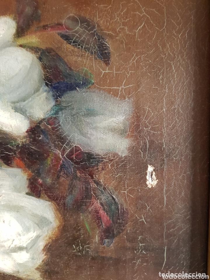 Arte: ANTIGUA PINTURA al óleo por Esteban Wenceslao Viciana (Almeria, 1871-1961) FLORERO - ROSAS BLANCAS B - Foto 10 - 172576717