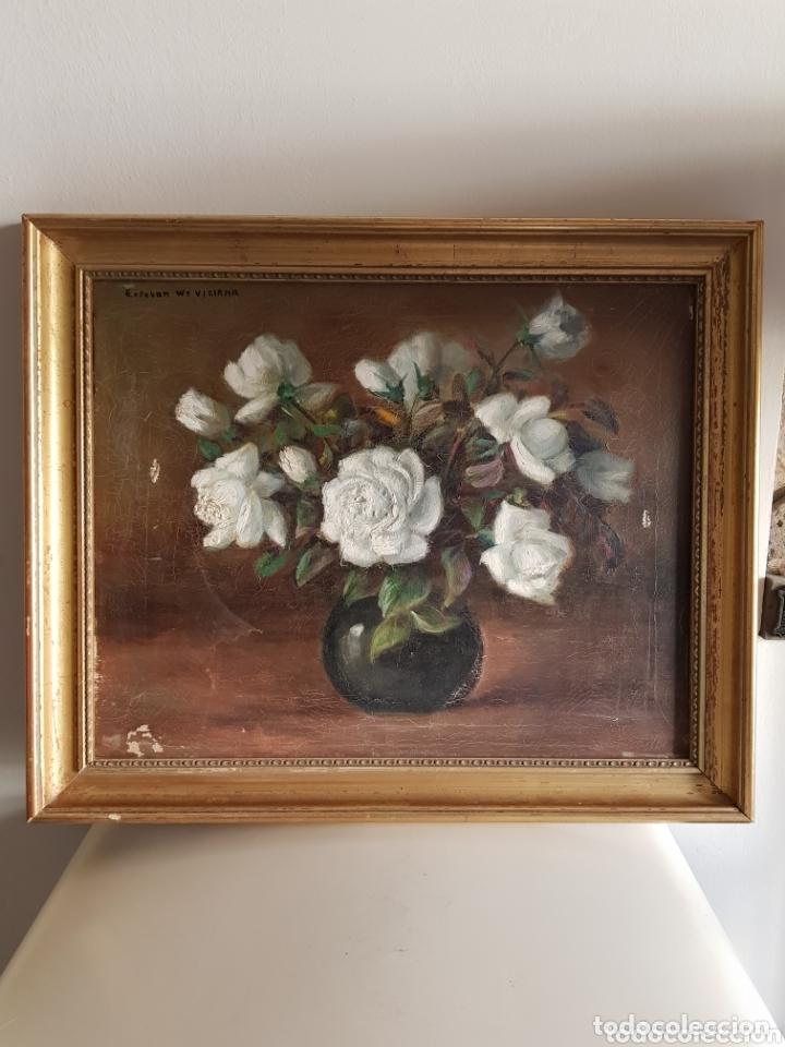 ANTIGUA PINTURA AL ÓLEO POR ESTEBAN WENCESLAO VICIANA (ALMERIA, 1871-1961) FLORERO - ROSAS BLANCAS B (Arte - Pintura - Pintura al Óleo Moderna siglo XIX)
