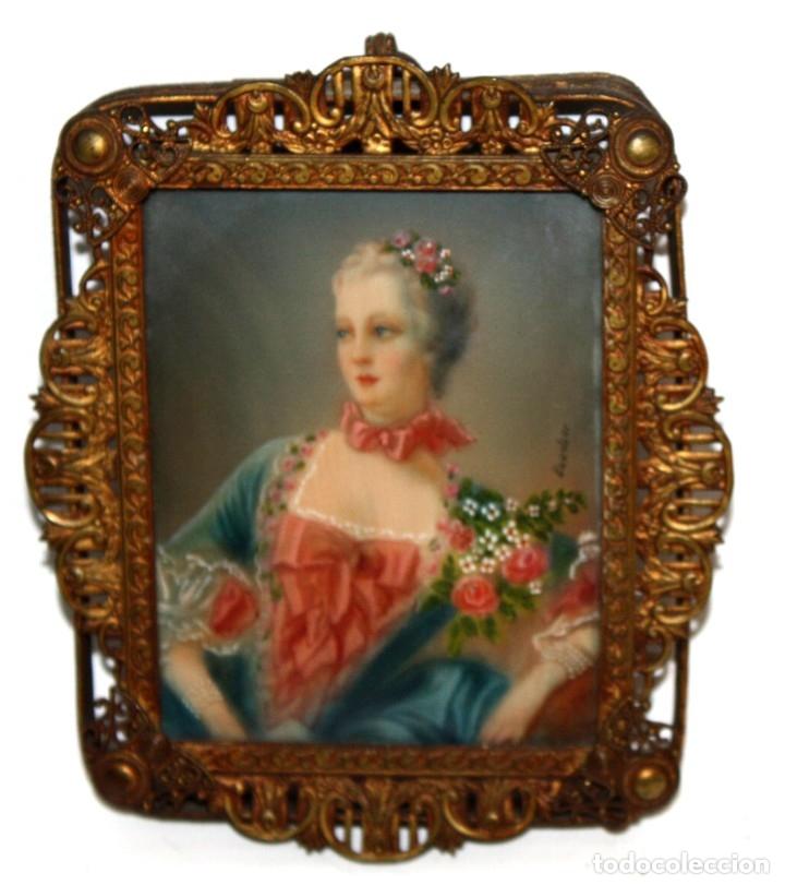 FIRMADO BOUCHER. PRECIOSA MINIATURA FIRMADA. RETRATO FEMENINO DEL SIGLO XIX (Arte - Pintura - Pintura al Óleo Moderna siglo XIX)