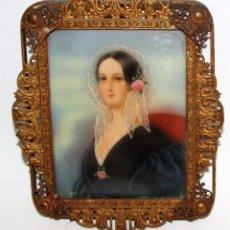Arte: FIRMADO COSWAY. PRECIOSA MINIATURA FIRMADA. RETRATO FEMENINO DEL SIGLO XIX. Lote 172629260