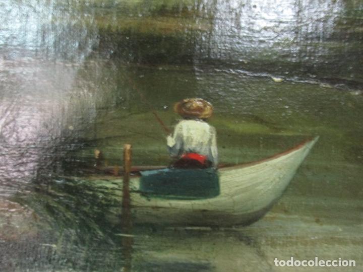 Arte: Manuel Pigem Ras (Banyoles 1862-1946) - Paisaje del Estanque - Óleo Sobre Tela - Foto 2 - 172713327