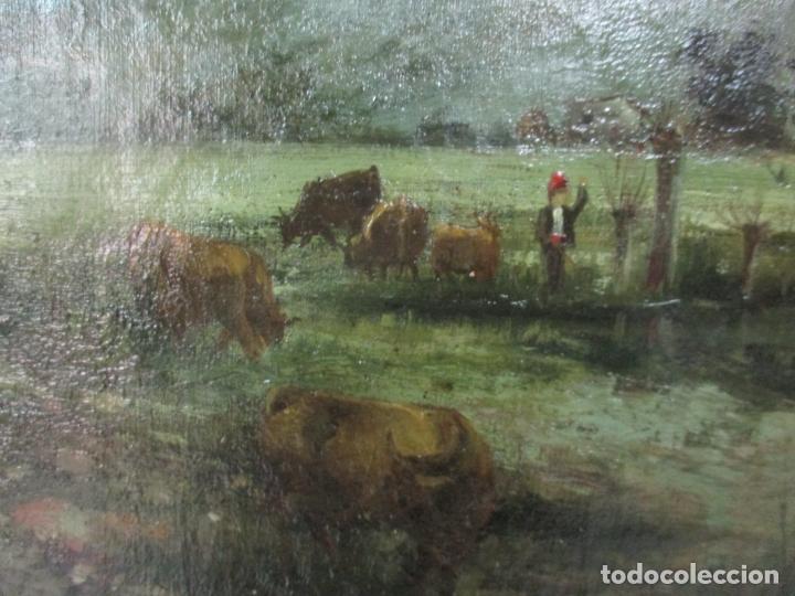 Arte: Manuel Pigem Ras (Banyoles 1862-1946) - Paisaje del Estanque - Óleo Sobre Tela - Foto 3 - 172713327