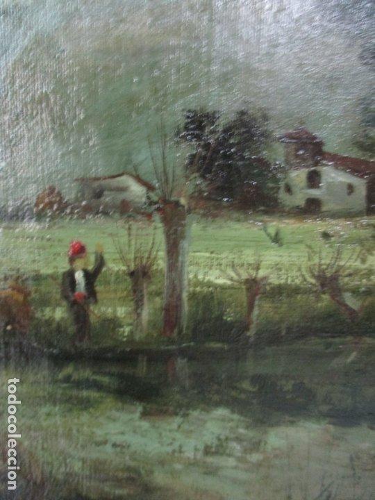 Arte: Manuel Pigem Ras (Banyoles 1862-1946) - Paisaje del Estanque - Óleo Sobre Tela - Foto 4 - 172713327