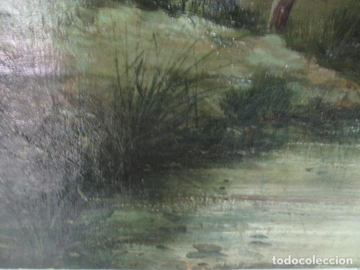 Arte: Manuel Pigem Ras (Banyoles 1862-1946) - Paisaje del Estanque - Óleo Sobre Tela - Foto 6 - 172713327