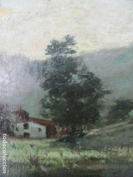 Arte: Manuel Pigem Ras (Banyoles 1862-1946) - Paisaje del Estanque - Óleo Sobre Tela - Foto 7 - 172713327