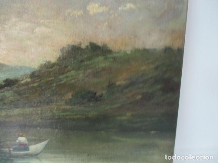 Arte: Manuel Pigem Ras (Banyoles 1862-1946) - Paisaje del Estanque - Óleo Sobre Tela - Foto 8 - 172713327