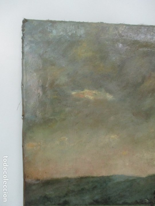 Arte: Manuel Pigem Ras (Banyoles 1862-1946) - Paisaje del Estanque - Óleo Sobre Tela - Foto 9 - 172713327