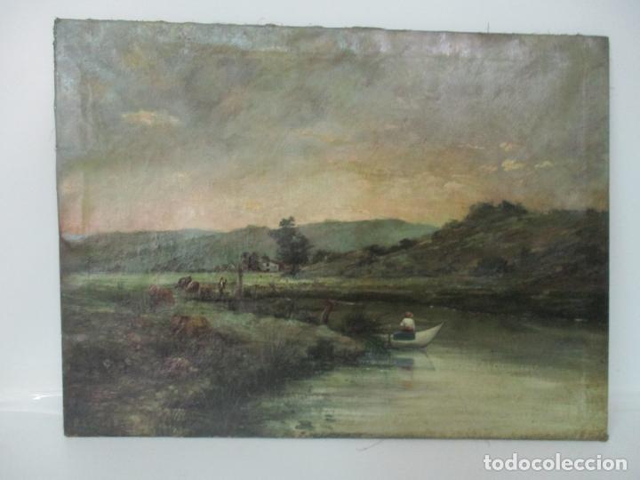 Arte: Manuel Pigem Ras (Banyoles 1862-1946) - Paisaje del Estanque - Óleo Sobre Tela - Foto 10 - 172713327