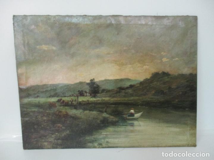 Arte: Manuel Pigem Ras (Banyoles 1862-1946) - Paisaje del Estanque - Óleo Sobre Tela - Foto 14 - 172713327
