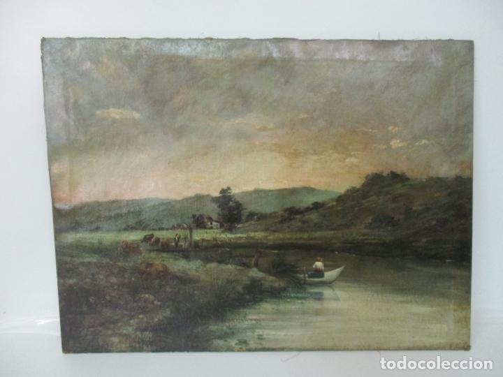 MANUEL PIGEM RAS (BANYOLES 1862-1946) - PAISAJE DEL ESTANQUE - ÓLEO SOBRE TELA (Arte - Pintura - Pintura al Óleo Moderna siglo XIX)