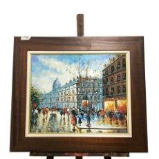 Arte: OLEO TABLA ESCENA CALLE DE PARÍS FIRMA DANFORD. Lote 172717442