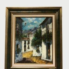 Arte: OLEO ENMARCADO ESCENA CALLE DE PUEBLO FIRMADO. Lote 172718189