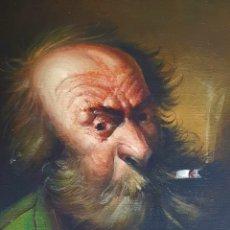 Arte: INTERESANTE PINTURA VINTAGE FUMADOR, FIRMADA (ILEGIBLE).. Lote 172728589
