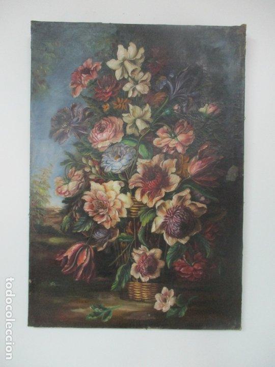 ÓLEO SOBRE TELA - BODEGÓN DE FLORES - SIGUIENDO MODELOS JUAN DE ARELLANO - S. XIX (Arte - Pintura - Pintura al Óleo Moderna siglo XIX)