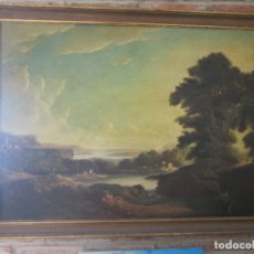 Arte: ANTIGUO OLEO SOBRE TABLA - PAISAJE ENMARCADO - 114X88. Lote 172853178