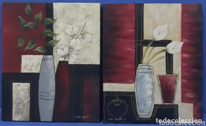 OLEO SOBRE LIENZO FIRMADOS R.WILEOX (Arte - Pintura - Pintura al Óleo Contemporánea )