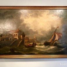 Arte: MARINA - ESCUELA HOLANDESA - S. XVIII / XIX - OLEO SOBRE LIENZO. Lote 172884579