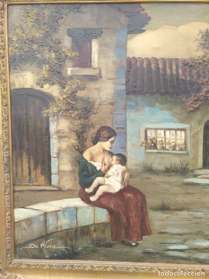 Arte: De Mora, gran óleo con marco extra - Foto 14 - 172939682