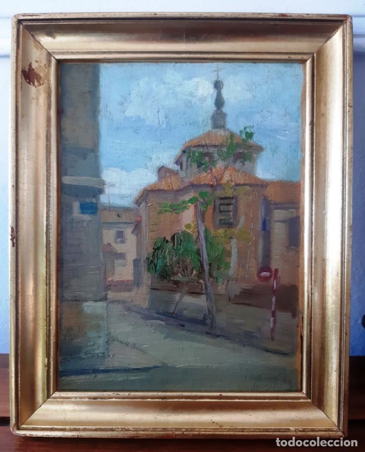 Arte: Iglesia de San Miguel de Chamartín. Óleo sobre tabla firmado y fechado en 1965 - Foto 6 - 172947438