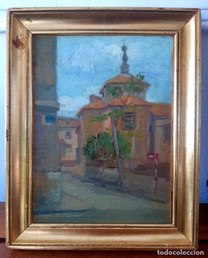 Arte: Iglesia de San Miguel de Chamartín. Óleo sobre tabla firmado y fechado en 1965 - Foto 2 - 172947438