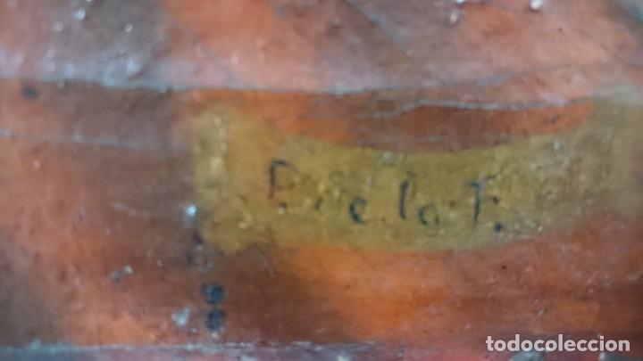 Arte: Antiguo Ecce Homo, óleo sobre lienzo con ángel de la guarda. Siglo XVII. Masónico. 50x37cm - Foto 5 - 169095336