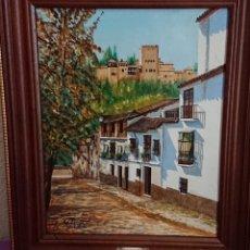 Arte: OLEO CALLE GRANADA F.R. YAÑEZ. Lote 172965149