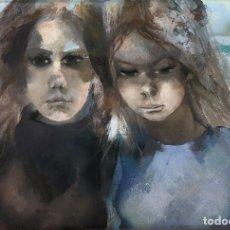 Arte: RAMÓN AGUILAR MORÉ - DOS JÓVENES - ACRÍLICO TABLA. Lote 173023433