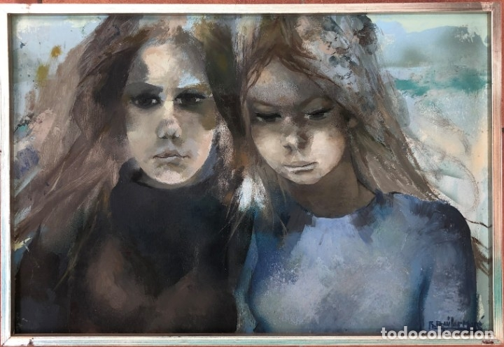 Arte: Ramón Aguilar Moré - Dos jóvenes - Acrílico tabla - Foto 2 - 173023433