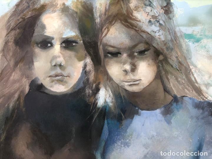 Arte: Ramón Aguilar Moré - Dos jóvenes - Acrílico tabla - Foto 10 - 173023433