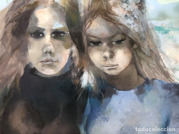Arte: Ramón Aguilar Moré - Dos jóvenes - Acrílico tabla - Foto 11 - 173023433