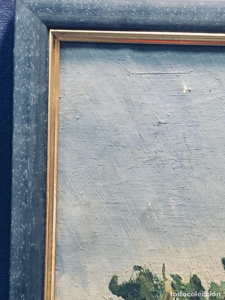 Arte: OLEO SOBRE LIENZO PAISAJE PUENTE RIO FRANCIA FIRMA ANGLE PPIO S XX 37X45CMS - Foto 6 - 173049807