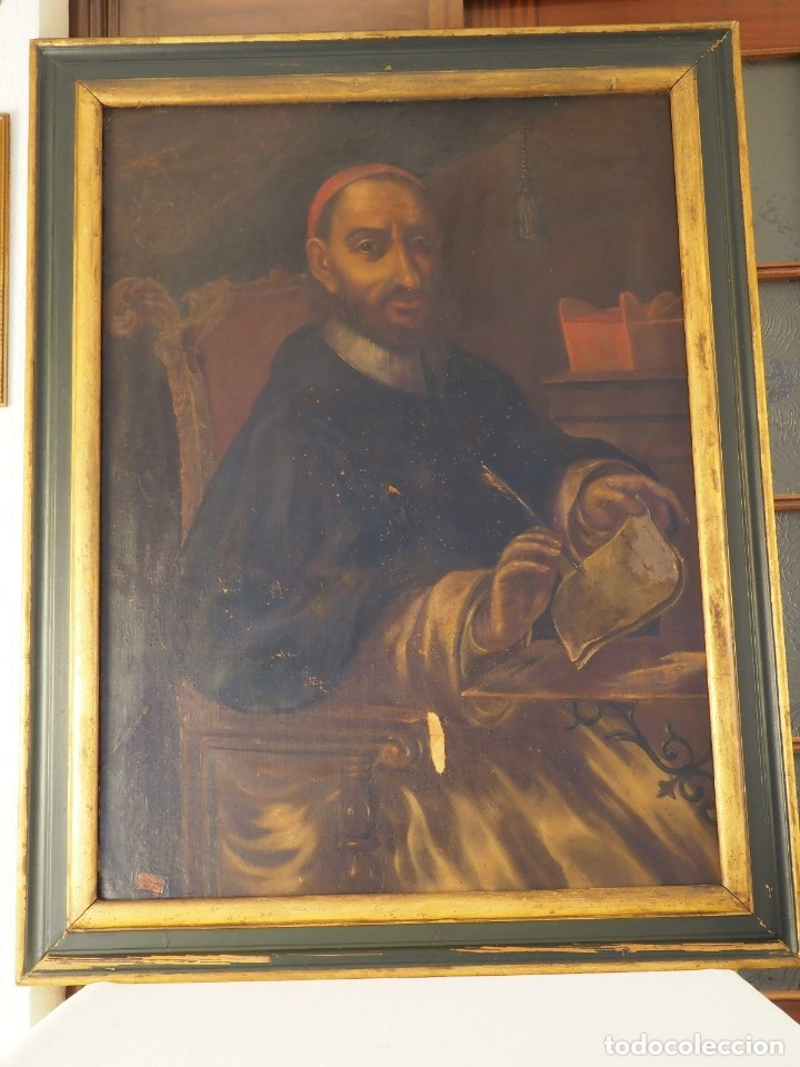 RETRATO DE CARDENAL (Arte - Pintura - Pintura al Óleo Antigua siglo XVIII)