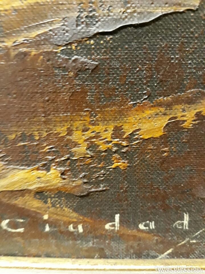 Arte: DANIEL CIUDAD GARCIA ( VALLADOLID S.XX) PAISAJE DE PUEBLO (ÓLEO SOBRE LIENZO 50 x 65) - Foto 2 - 173173078