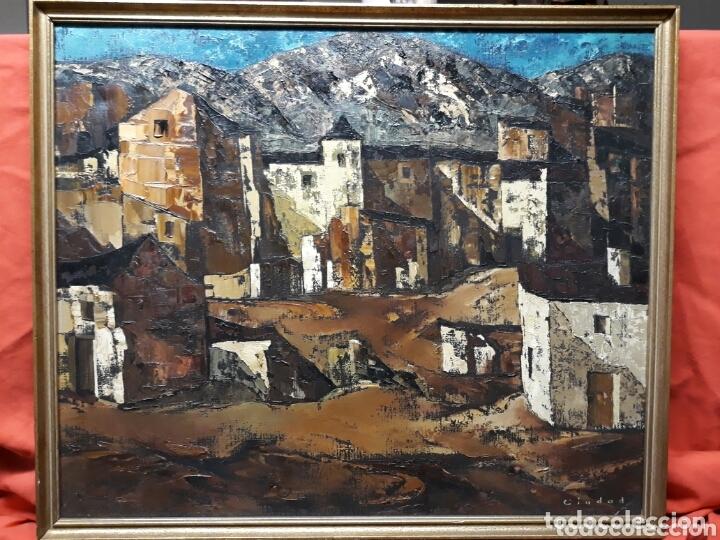 Arte: DANIEL CIUDAD GARCIA ( VALLADOLID S.XX) PAISAJE DE PUEBLO (ÓLEO SOBRE LIENZO 50 x 65) - Foto 3 - 173173078