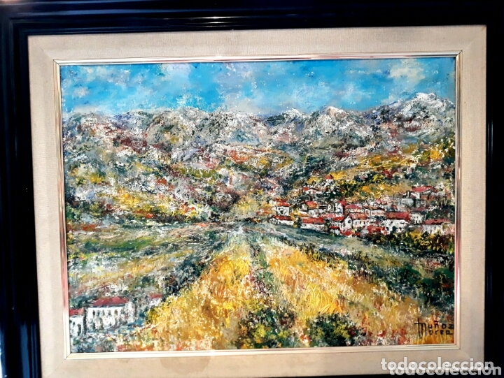 MUÑOZ MOREA (VALENCIA 2 MITAD S.XX) PAISAJE DE PUEBLO, ÓLEO SOBRE LIENZO 45 X 56 (Arte - Pintura - Pintura al Óleo Moderna sin fecha definida)
