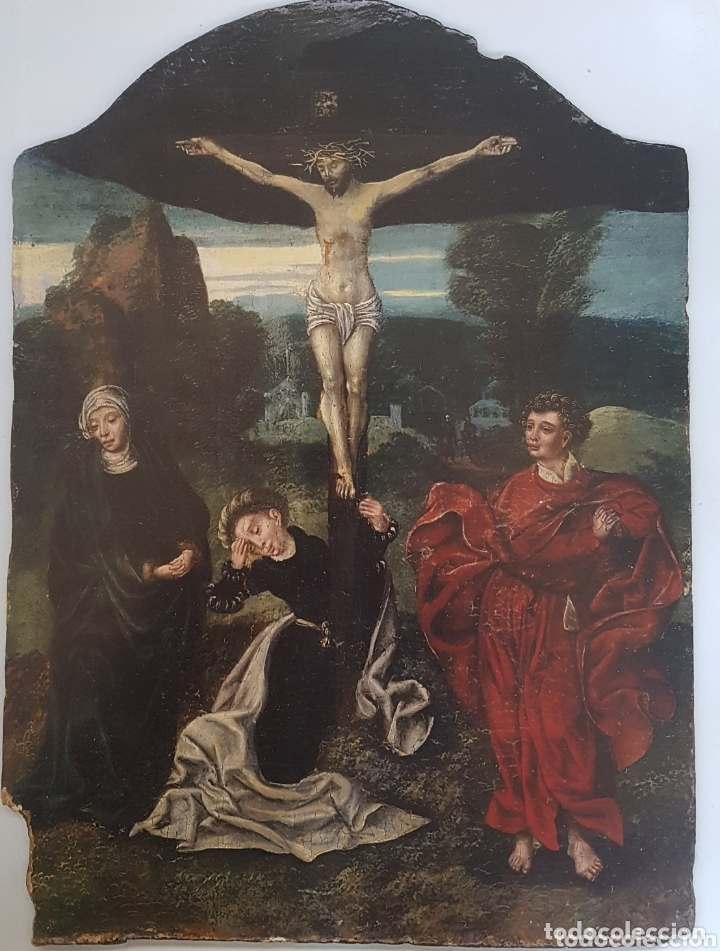 CALVARIO CÍRCULO DE JOOS VAN CLEVE (Arte - Pintura - Pintura al Óleo Antigua siglo XV)