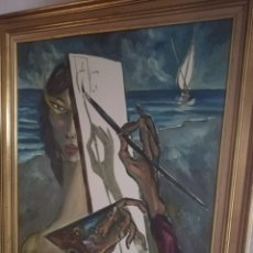Arte: OLEO DELJULIO VIERA.. PINTOR CANARIO CONSIDERADO POR SU ESTILO COMO EL DALI CANARIO. Lote 173484394