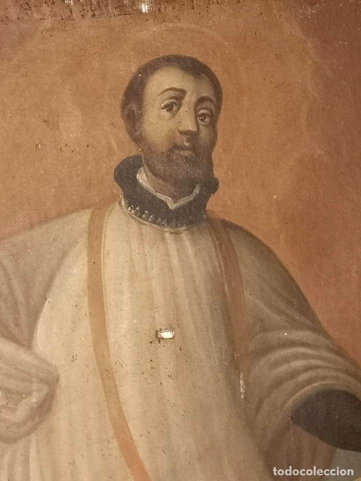Arte: San Francisco Javier. Oléo sobre lienzo ,Siglo XVII. 90x67 cm - Foto 4 - 173489350