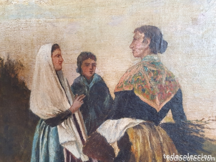 Arte: OLEO SOBRE LIENZO COSTUMBRISTA LAS TRES MUJERES S.XVIII-XIX ESTA FIRMADO - Foto 2 - 161612765