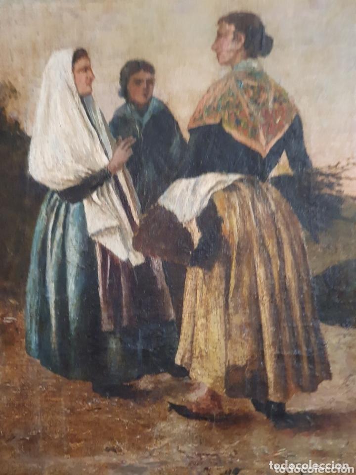 Arte: OLEO SOBRE LIENZO COSTUMBRISTA LAS TRES MUJERES S.XVIII-XIX ESTA FIRMADO - Foto 5 - 161612765