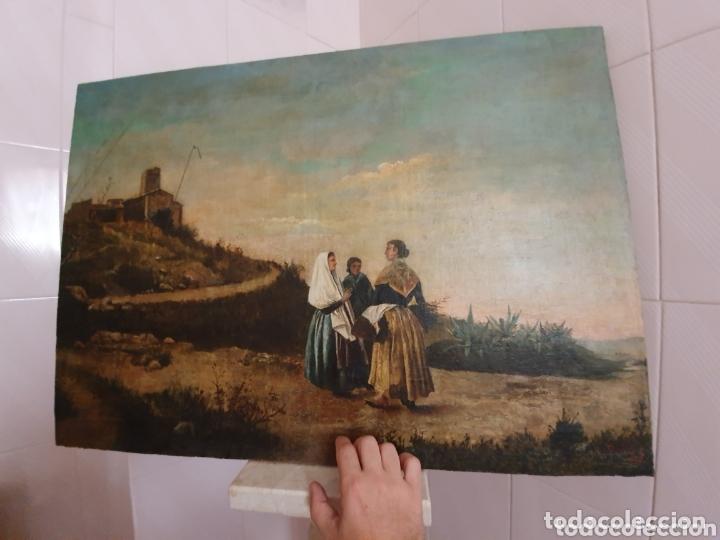 Arte: OLEO SOBRE LIENZO PINTURA CATALANA LAS TRES MUJERES S.XVIII-XIX - Foto 9 - 161612765