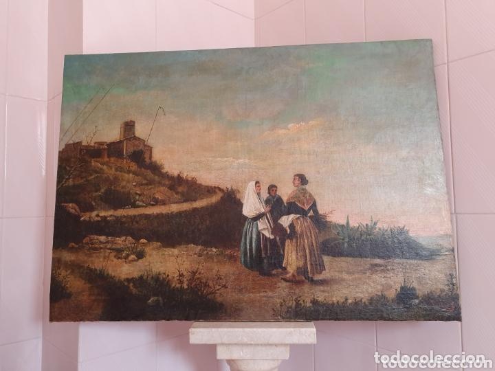 OLEO SOBRE LIENZO PINTURA CATALANA LAS TRES MUJERES S.XVIII-XIX (Arte - Pintura - Pintura al Óleo Antigua siglo XVIII)