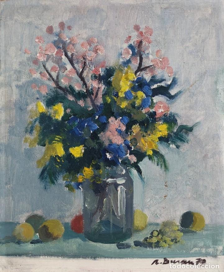 RAFAEL DURAN BENET (1931-2015) - BODEGON DE JARRÓN CON FLORES - ÓLEO (Arte - Pintura - Pintura al Óleo Contemporánea )