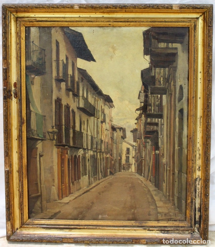 JULIO BORRELL (BARCELONA, 1877-1957). CALLE DE PUIGCERDÀ, ÓLEO SOBRE LIENZO, 46X36 CM. (Arte - Pintura - Pintura al Óleo Contemporánea )
